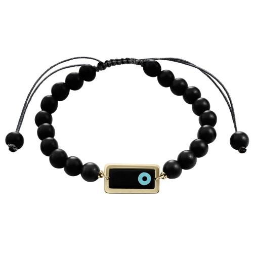 Men bracelet, with corian eye 14K gold with black onyx, br2483