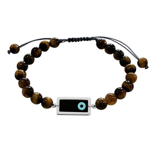 Men bracelet, with corian eye 14K white gold with tiger eye, br2501
