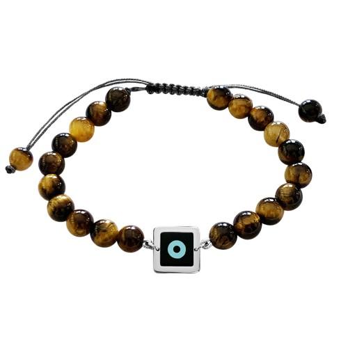 Men bracelet, with corian eye 14K white gold with tiger eye, br2503