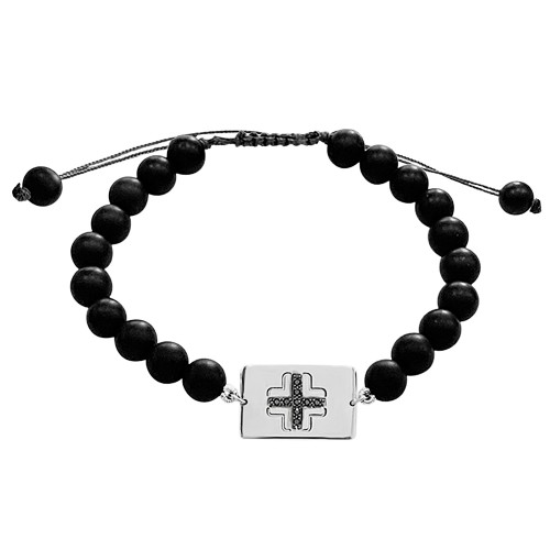 Men bracelet, with cross 14K white gold with black onyx and black diamonds 0.04ct, br2504