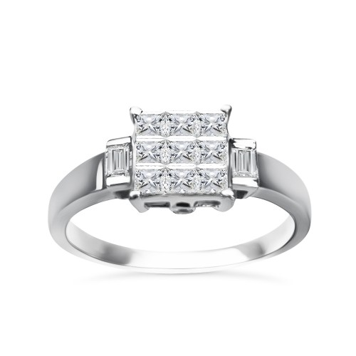Multistone ring 18K white gold with center diamonds 0.44ct, VS1, G from IGL da2054 ENGAGEMENT RINGS Κοσμηματα - chrilia.gr