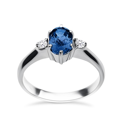 Solitaire ring 18K white gold with sapphire 1.10ct and diamonds , VS1, F from IGL da2936 ENGAGEMENT RINGS Κοσμηματα - chrilia.gr