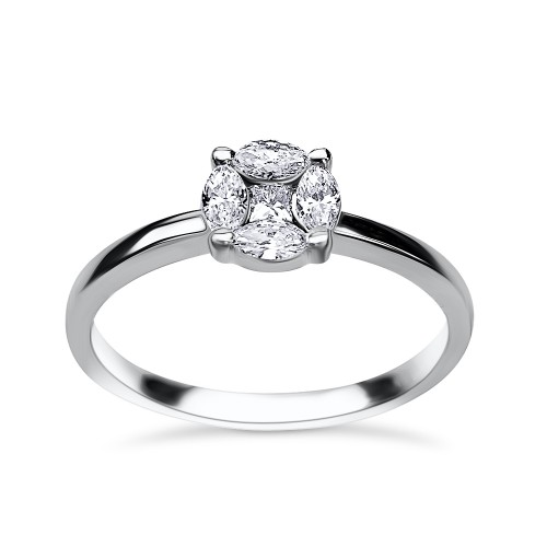 Multistone ring 18K white gold  0.27ct, VS1, F from IGL da3109 ENGAGEMENT RINGS Κοσμηματα - chrilia.gr