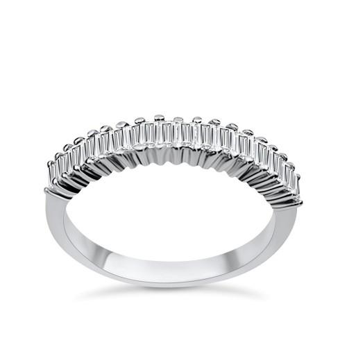 Half stone ring 18K white gold with diamonds 0.46ct, VS1, F da3110 ENGAGEMENT RINGS Κοσμηματα - chrilia.gr
