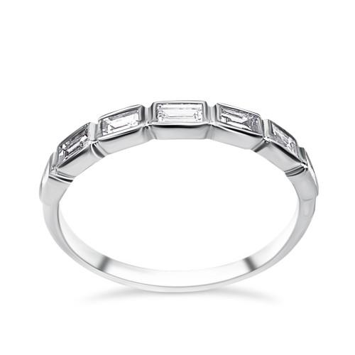 Half stone ring 18K white gold with diamonds 0.45ct, VS1, F da3111 ENGAGEMENT RINGS Κοσμηματα - chrilia.gr