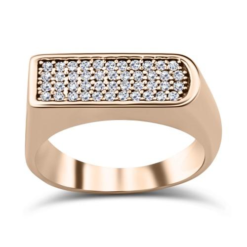 Multistone ring K9 pink gold with zircon, da3248 RINGS Κοσμηματα - chrilia.gr