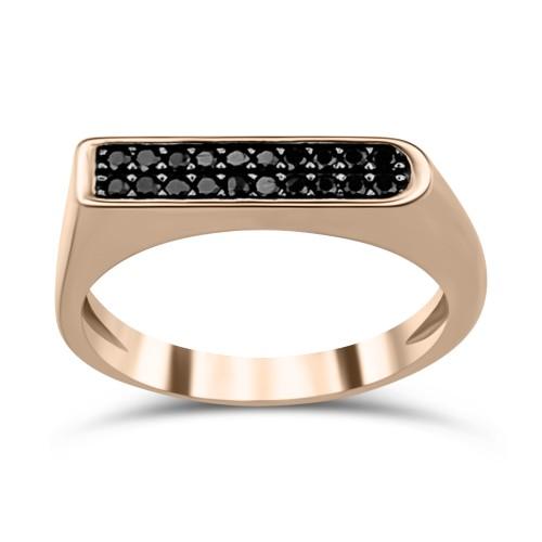 Multistone ring K9 pink gold with black zircon, da3249 RINGS Κοσμηματα - chrilia.gr