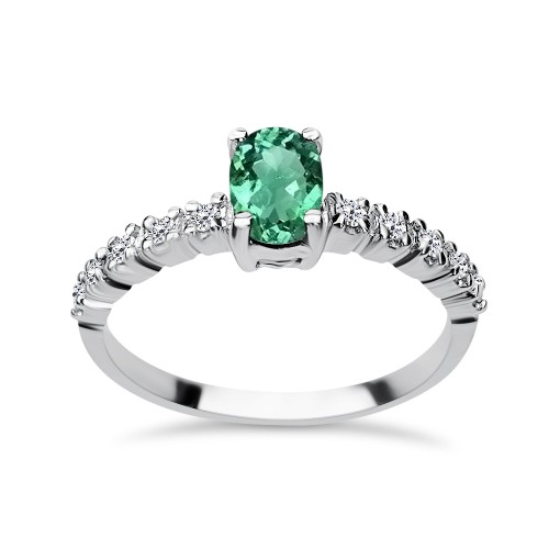 Solitaire ring 18K white gold with emerald 0.65ct and diamonds , VS1, F da3290 ENGAGEMENT RINGS Κοσμηματα - chrilia.gr