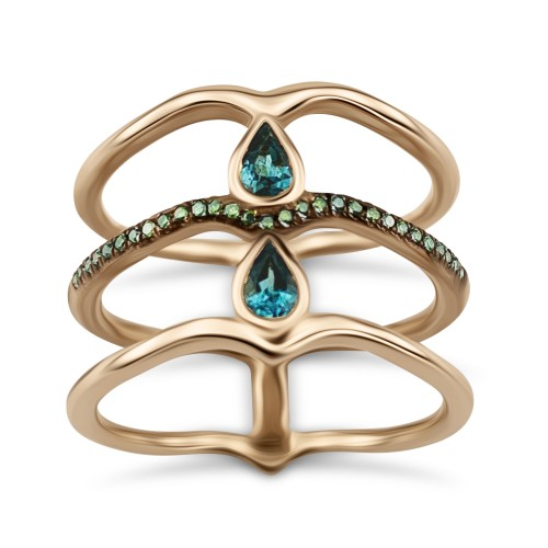 Multistone ring 18K pink gold with blue tourmalines 0.48ct and green diamonds da3308 RINGS Κοσμηματα - chrilia.gr