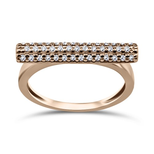 Multistone ring K9 pink gold with zircon, da3314 RINGS Κοσμηματα - chrilia.gr