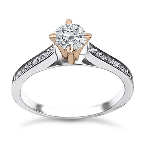 Solitaire ring 18K white & pink gold with center diamond 0.39ct, VS2, H from IGL da3362 ENGAGEMENT RINGS Κοσμηματα - chrilia.gr