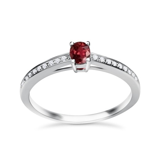 Solitaire ring 18K white gold with ruby 0.28ct and diamonds , VS1, F da3435 ENGAGEMENT RINGS Κοσμηματα - chrilia.gr