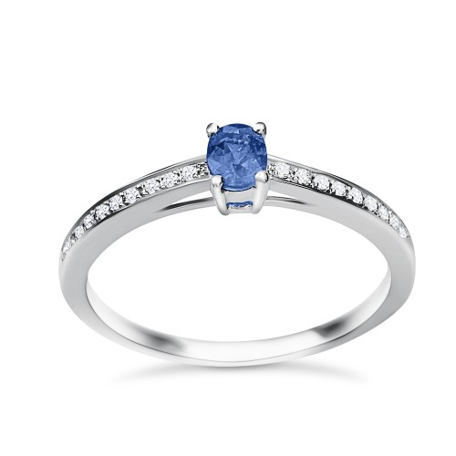 Solitaire ring 18K white gold with sapphire 0.28ct and diamonds , VS1, F da3436 ENGAGEMENT RINGS Κοσμηματα - chrilia.gr
