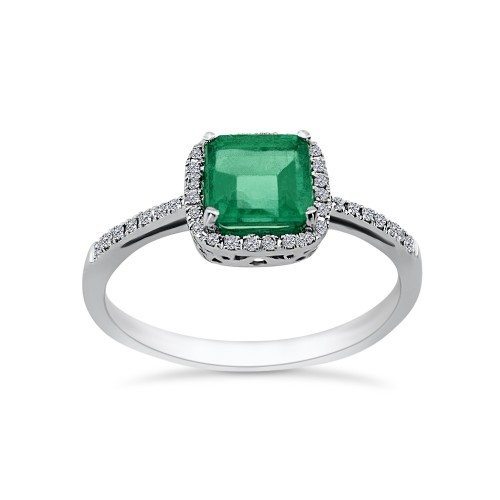 Solitaire ring 18K white gold with emerald 0.98ct and diamonds, VS1, F da3437 ENGAGEMENT RINGS Κοσμηματα - chrilia.gr