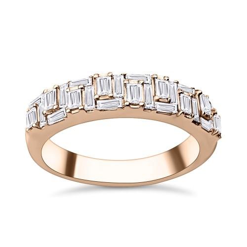 Half stone ring 18K pink gold with diamonds 0.66ct, VS1, F da3439 ENGAGEMENT RINGS Κοσμηματα - chrilia.gr