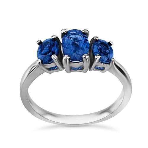 Half stone ring 18K white gold with sapphires 2.10ct from IGL da3440 ENGAGEMENT RINGS Κοσμηματα - chrilia.gr