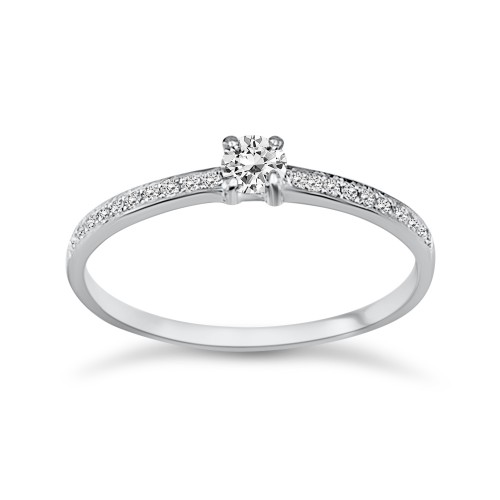 Solitaire ring 18K white gold with center diamond 0.11ct, VVS1, G da3489 ENGAGEMENT RINGS Κοσμηματα - chrilia.gr