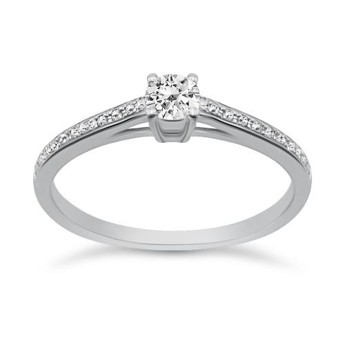 Solitaire ring 18K white gold with center diamond 0.16ct, VVS2, G from IGL da3490 ENGAGEMENT RINGS Κοσμηματα - chrilia.gr