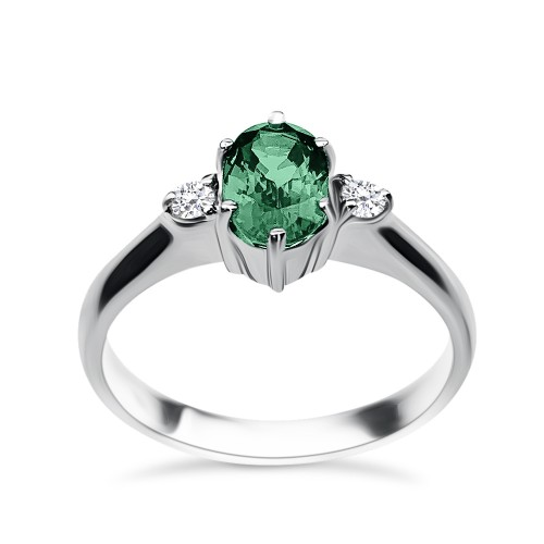 Solitaire ring 18K white gold with emerald 0.94ct and diamonds , VS1 F , da3492 ENGAGEMENT RINGS Κοσμηματα - chrilia.gr