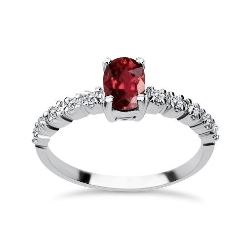 Solitaire ring 18K white gold with ruby 0.77ct and diamonds , VS1, F da3493 ENGAGEMENT RINGS Κοσμηματα - chrilia.gr