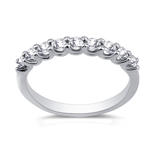 Half stone ring 18K white gold with diamonds 0.45ct, VS2, G from IGL da3521 ENGAGEMENT RINGS Κοσμηματα - chrilia.gr