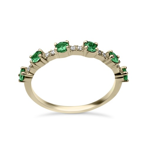 Half stone ring 18K gold with tsavorites 0.39ct and diamonds, VS1, F, da3528 ENGAGEMENT RINGS Κοσμηματα - chrilia.gr