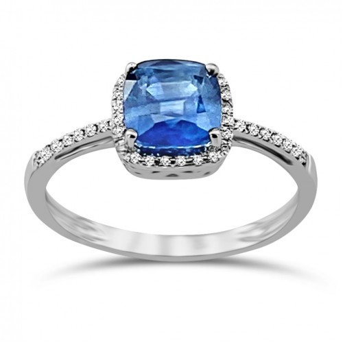 Solitaire ring 18K white gold with sapphire 1.12ct and diamonds , VS1, G da3532 ENGAGEMENT RINGS Κοσμηματα - chrilia.gr