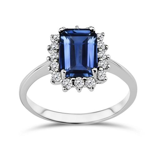 Multistone ring 18K white gold with kyanite 2.25ct and diamonds, VS1, F da3534 ENGAGEMENT RINGS Κοσμηματα - chrilia.gr