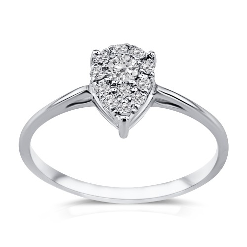 Multistone ring 18K white gold  0.21ct, VS1, G from IGL da3535 ENGAGEMENT RINGS Κοσμηματα - chrilia.gr
