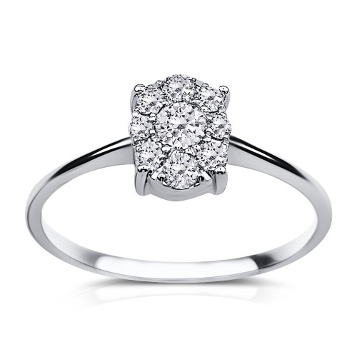 Multistone ring 18K white gold  0.32ct, VS1, F from IGL da3536 ENGAGEMENT RINGS Κοσμηματα - chrilia.gr