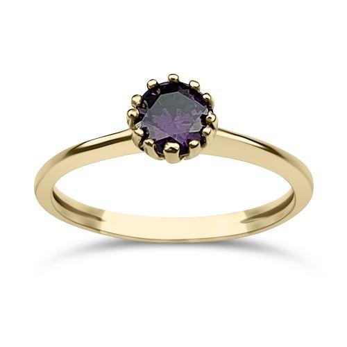 Solitaire ring 14K gold with purple zircon, da3674