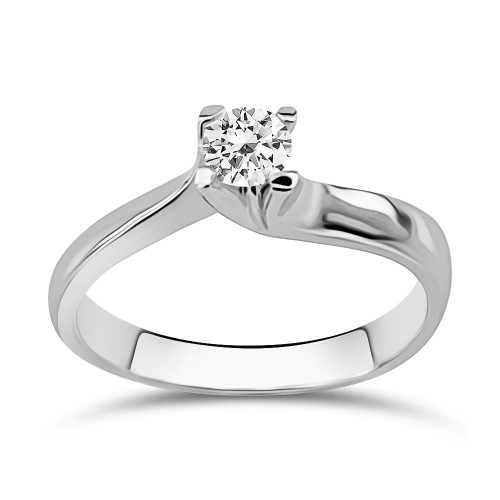 Solitaire ring 18K white gold with diamond 0.22ct, SI1, F from IGL da3791 ENGAGEMENT RINGS Κοσμηματα - chrilia.gr