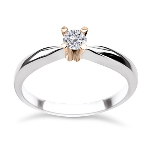 Solitaire ring 18K White & pink gold with diamond 0.13ct, VS1, G from IGL da3691 ENGAGEMENT RINGS Κοσμηματα - chrilia.gr