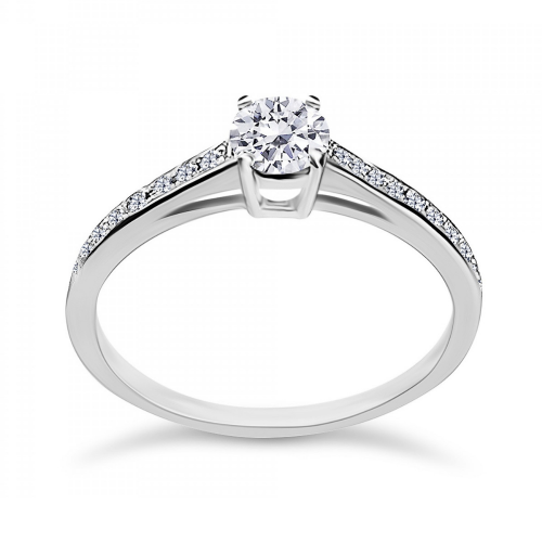 Solitaire ring 18K white gold with center diamond 0.30ct, VS1, F from IGL da3783