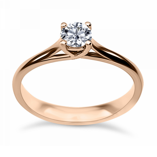 Solitaire ring 18K pink gold with diamond 0.25ct, SI1, G from IGL da3502 ENGAGEMENT RINGS Κοσμηματα - chrilia.gr