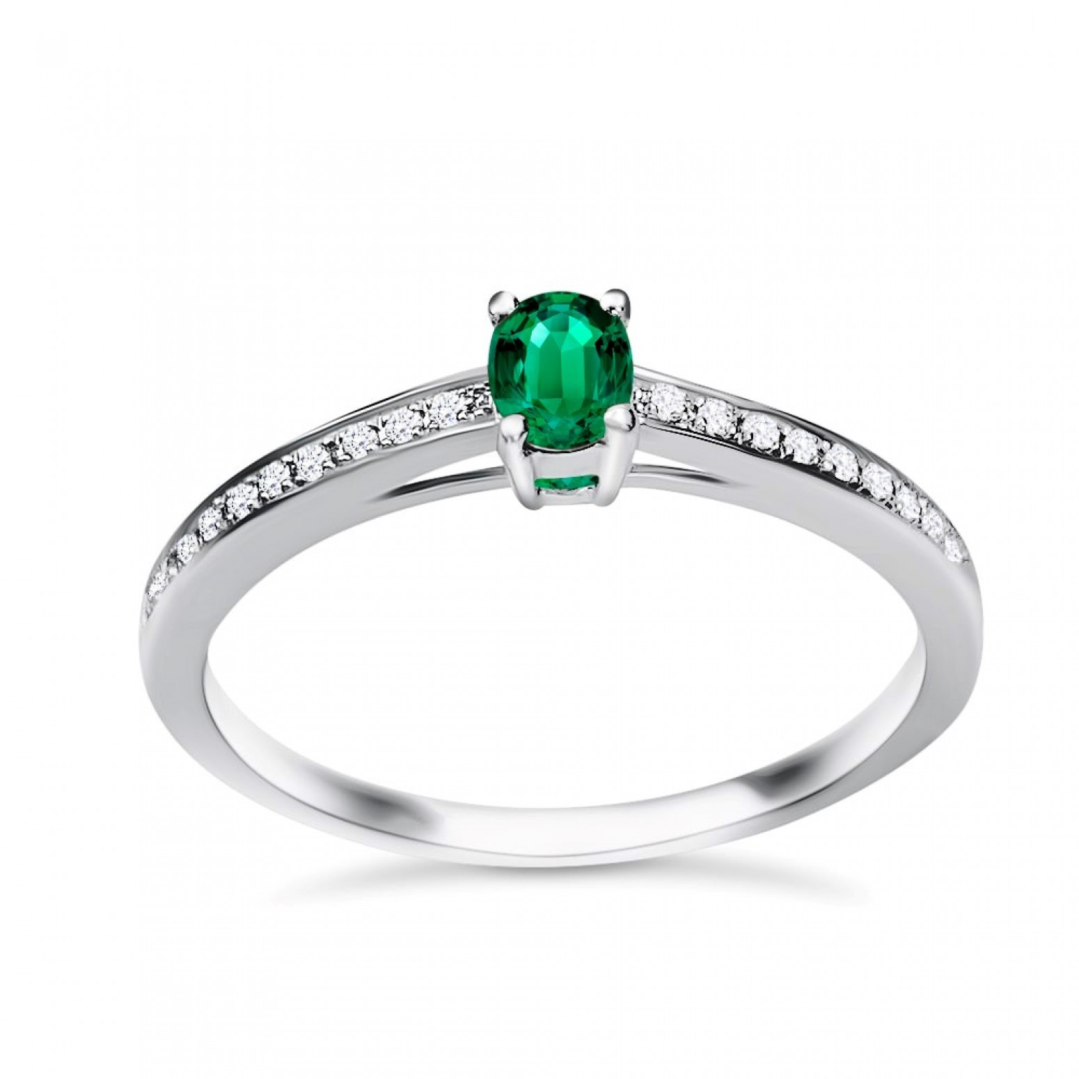 Solitaire ring 18K white gold with emerald 0.24ct and diamonds, VS1, G da3531 ENGAGEMENT RINGS Κοσμηματα - chrilia.gr