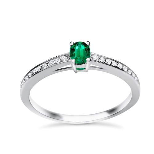 Solitaire ring 18K white gold with emerald 0.24ct and diamonds, VS1, G da3531