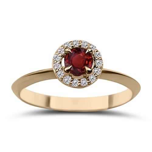 Solitaire ring 18K pink gold with ruby 0.24ct and diamonds VS1, G da3683 ENGAGEMENT RINGS Κοσμηματα - chrilia.gr