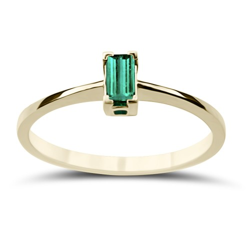 Solitaire ring 18K gold with emerald 0.18ct, da3687