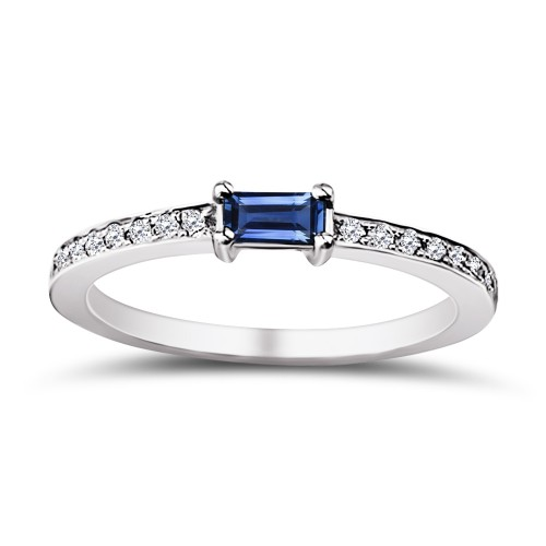 Solitaire ring 18K white gold with sapphire 0.21ct and diamonds  VS1, G da3688 ENGAGEMENT RINGS Κοσμηματα - chrilia.gr