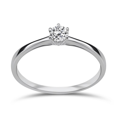Solitaire ring 18K white gold with diamond 0.13ct, VS1, H da3767 ENGAGEMENT RINGS Κοσμηματα - chrilia.gr