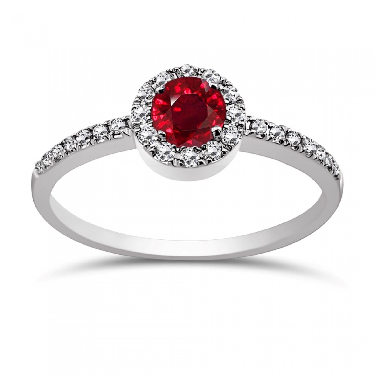 Solitaire ring 18K white gold with ruby 0.41ct and diamonds, VS1, G da3868 ENGAGEMENT RINGS Κοσμηματα - chrilia.gr