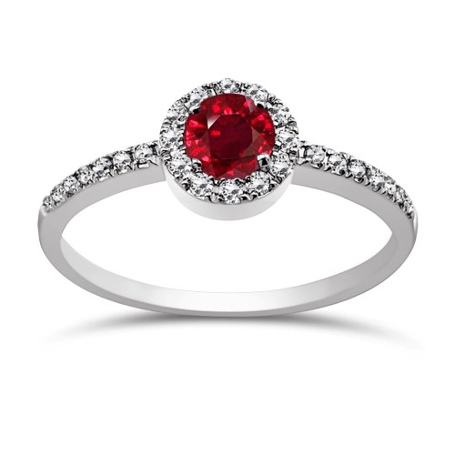 Solitaire ring 18K white gold with ruby 0.41ct and diamonds, VS1, G da3868