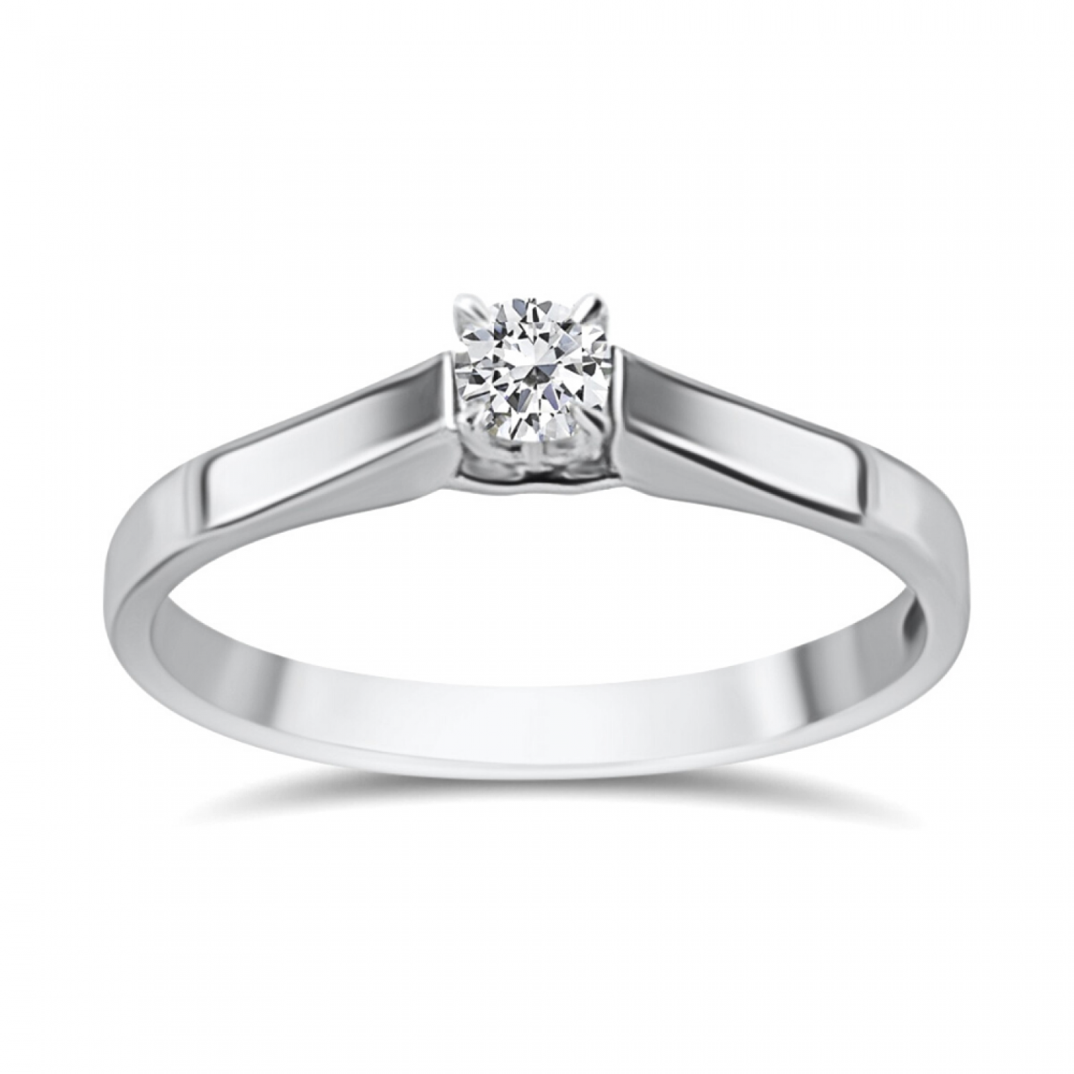 Solitaire ring 18K white gold with diamond 0.08ct, VS1, G from IGL da3794 ENGAGEMENT RINGS Κοσμηματα - chrilia.gr