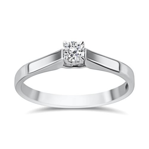 Solitaire ring 18K white gold with diamond 0.08ct, VS1, G from IGL da3794