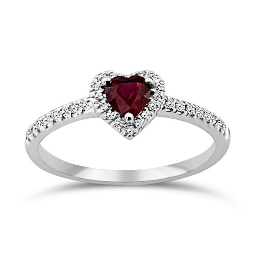 Solitaire ring 18K white gold with ruby 0.46ct and diamonds, VS1, G da3538 ENGAGEMENT RINGS Κοσμηματα - chrilia.gr