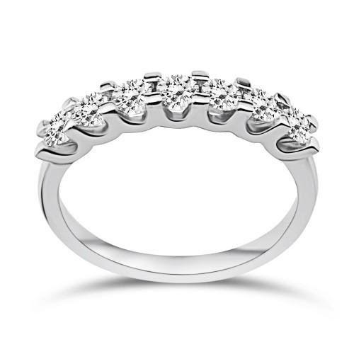 Half stone ring 18K white gold with diamonds 0.62ct, VVS1, F from IGL da3773