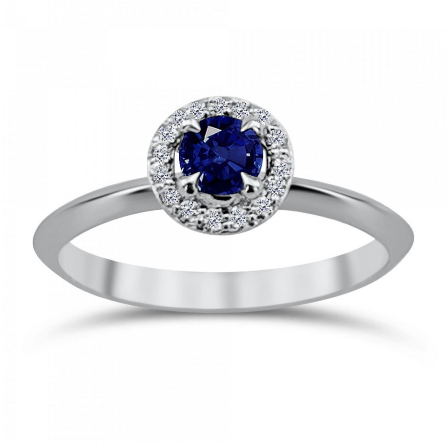 Solitaire ring 18K white gold with sapphire 0.37ct and diamonds, VS1, G da3797 ENGAGEMENT RINGS Κοσμηματα - chrilia.gr