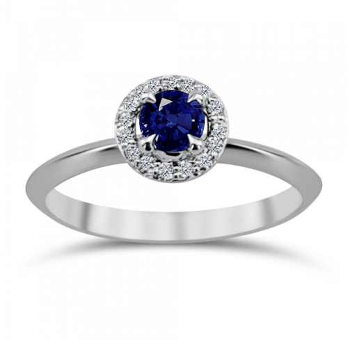 Solitaire ring 18K white gold with sapphire 0.37ct and diamonds, VS1, G da3797