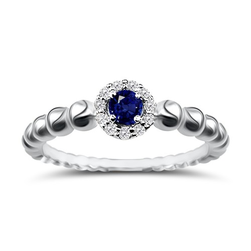 Solitaire ring 18K white gold with sapphire 0.04ct and diamonds, VS1, G da3818